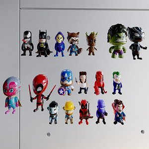 3D Superheroes toys collection model