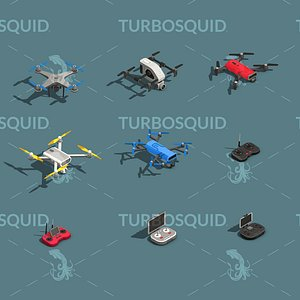 Low Poly Drone Isometric Icon Pack 02 Low-poly 3D