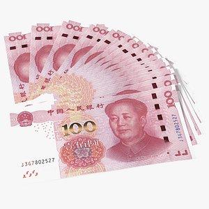 Chinese 100 Yuan 2015 Banknotes Fan 3D model