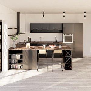 3D model revit kitchen parametric