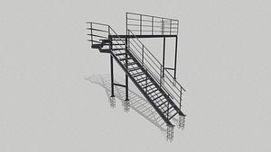 Fire ladder and platform 3D