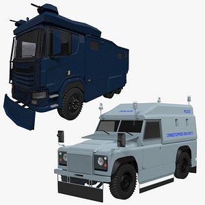 3D Police Armored Cars Collection model