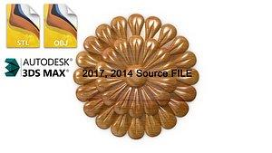 3D basrelief rosette decor model