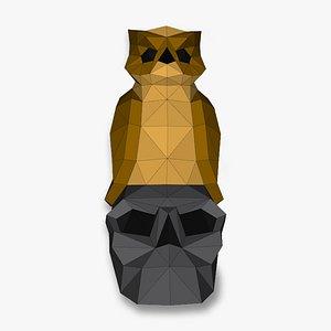 OWL ON SKULL 3D Papercraf 3D model