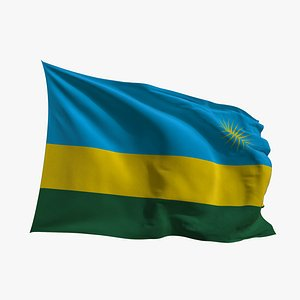 3D Realistic Animated Flag - Microtexture Rigged - Put your own texture - Def Rwanda