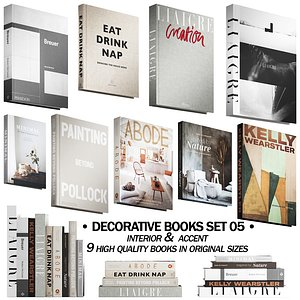 3D model 046 Decorative books set 05 neutral 02