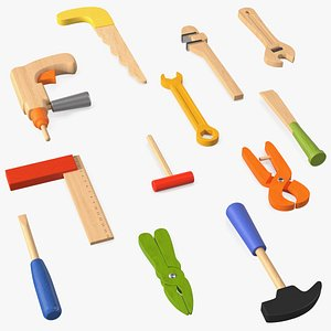 3D Colorful Wooden Tools