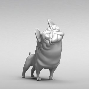 3D dog french bulldog