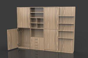 American style wardrobe children door wardrobe assembly solid wood sliding door wardrobe modern cont 3D model
