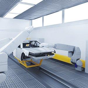 Robot Painting Production Line 3D