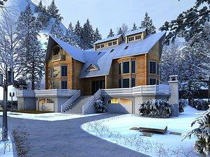 3D model Snow view community villa in winter villa snow