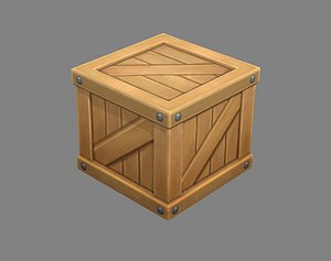 3D box wood goods model