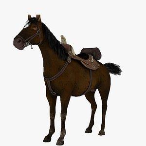 3D 3D Brown Horse Rigged 3D Model