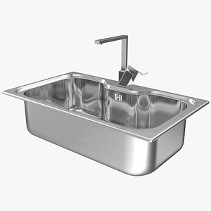3D Single Bowl Square Inset Sink with Tap