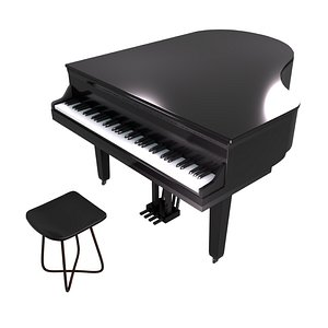 3D chair piano stool model