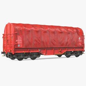 DB Cargo Coil Transporter Tarpaulin Freight Wagon Closed Dirty model