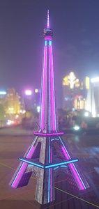 Sci-Fi Eiffel Tower- Neon Lights 3D model