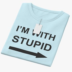 3D model Female Crew Neck Folded With Tag Blue Im With Stupid 02