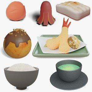 3D Japanese Food Set