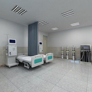 3D Full Hospital Hemodialysis Treatment Department model