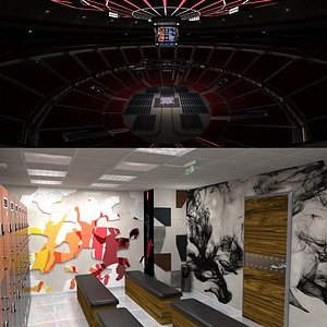 3D Boxing Arena and Locker Room model