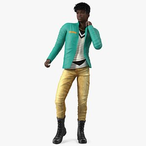 3D Dark Skin Teenager Fashionable Style Dancing Pose model
