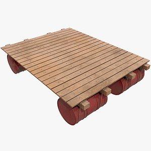 3D Wooden Raft v3  With Pbr 4K 8K model