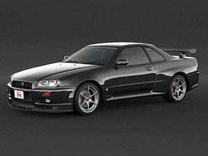 3D car nissan skyline r34 model