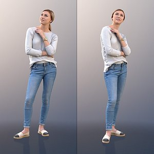 10078 Ramona - Standing Young Woman Thinking 3D model