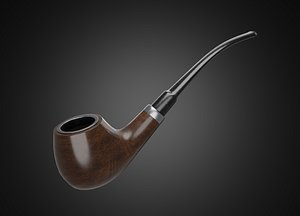 Vintage wooden tobacco pipe smoking 3D model