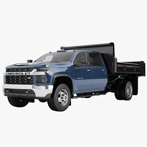 Chevrolet Silverado 3500 HD 2021 Flatbed Dump Truck 04 3D model
