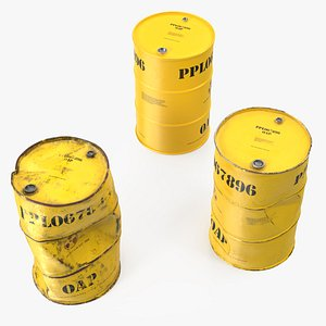 3D radioactive waste barrels set model