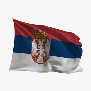 3D Realistic Animated Flag - Microtexture Rigged - Put your own texture - Def Serbia model