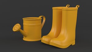 3D Yellow Rubber Boots with Watering Can model