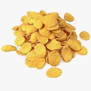 Pile of Dry Corn Flakes 3D model
