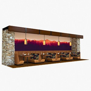 Restaurant Tables and Booths 3D
