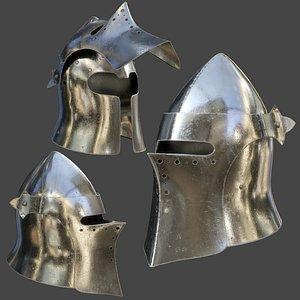 Visored Barbuta Helmet 3D model