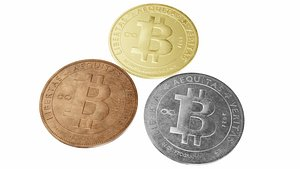 Bitcoin cryptocurrency sign 3D model