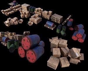 3D Warehouse Set dirt PBR Game Ready