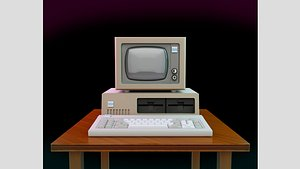 3D Vintage IBM PC XT Style Miniature 3D Print