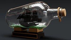 Pirate Ship in a Bottle 3D model