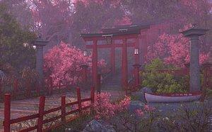 3D model Japanese Stairs Garden Gate