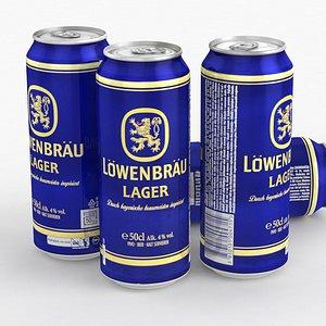 3D model Beer Can Lowenbrau 500ml 2021