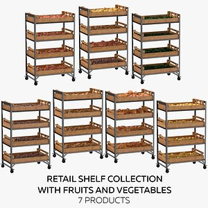 Retail Shelf 02 01 Collection with Vegetables 7 Products model