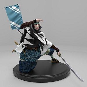 3D model figurine samurai