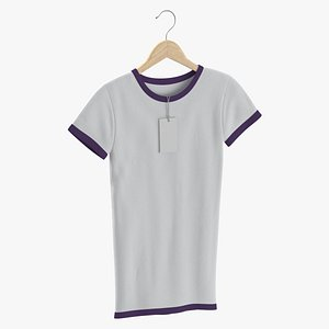 Female Crew Neck Hanging With Tag White and Purple 01 3D