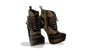 3D Ladies Steampunk Ankle Boots model