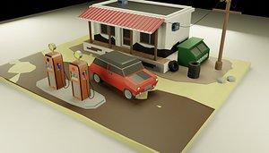 gasolinera 3D model