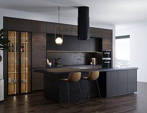 3D kitchen wine interior