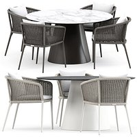 KNOT ARMCHAIR and CONE II DINING TABLE ROUND 140